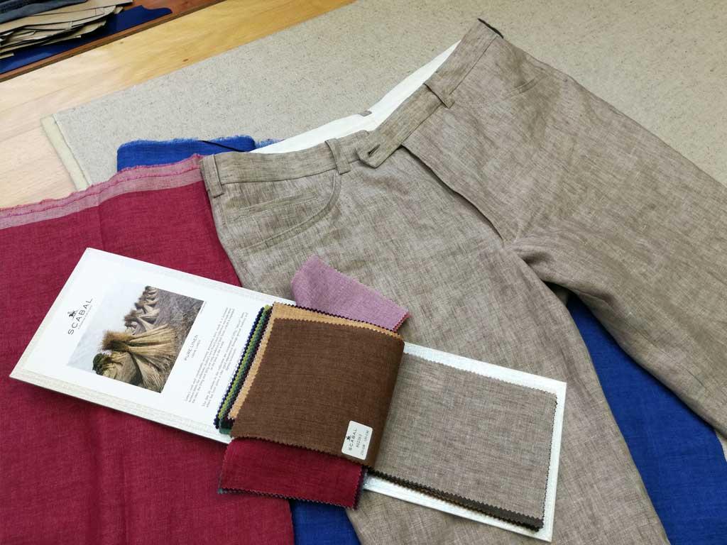 Lněné kalhoty - džínový střih